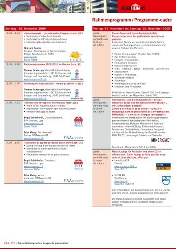 Rahmenprogramm / Programme-cadre - Minergie