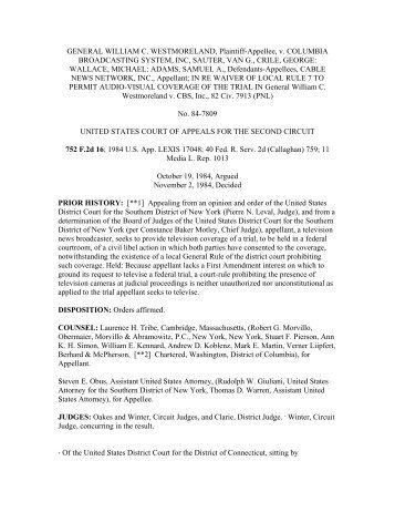 GENERAL WILLIAM C. WESTMORELAND, Plaintiff-Appellee, v ...