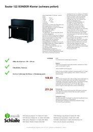 Sauter 122 SONDER Klavier (schwarz poliert)