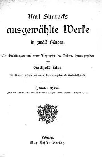 Karl Simrock's Ausgewählte Werke in zwölf Banden [microform] : mit ...