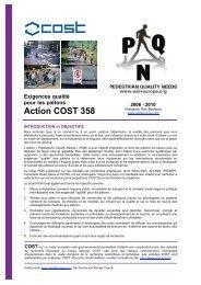 Exigences qualité pour les piétons Action COST 358 - Chôros - EPFL