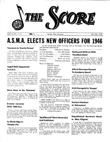 asma elects new officers for 1946 - American Society of Music ...