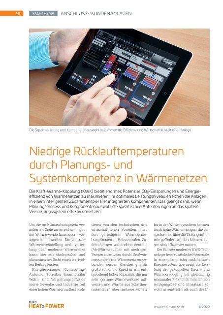 Niedrige Rücklauftemperatur im Wärmenetz | ehp 9/2020 Fachthema