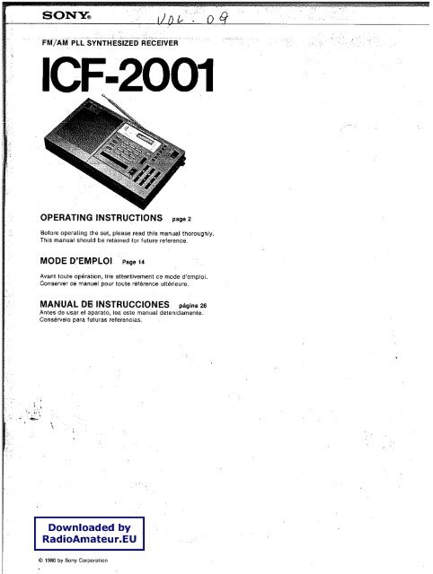 Sony icf-2001 user manual.