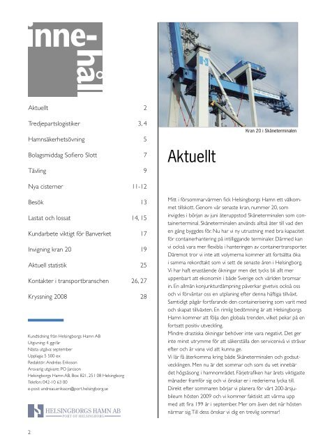 Tredjepartslogistik Banverket Ny containerkran - Helsingborgs ...