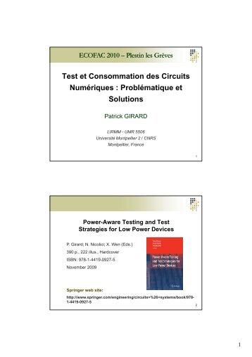 Test et Consommation des Circuits N é i P blé ti t Numériques ...