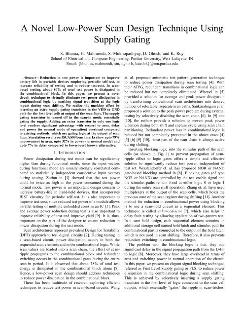 A Novel Low-Power Scan Design Technique Using Supply Gating