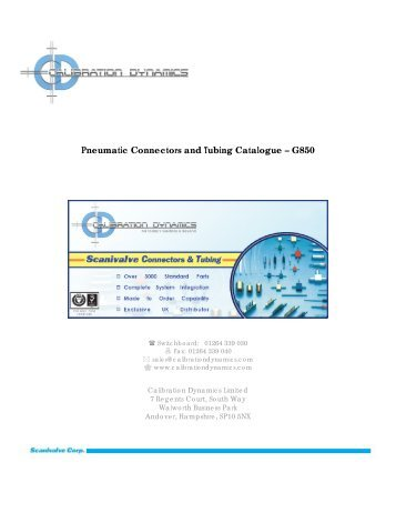 Pneumatic Connectors and Tubing Catalogue - Calibration Dynamics
