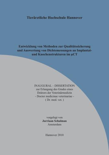 Tierärztliche Hochschule Hannover Entwicklung von Methoden zur ...