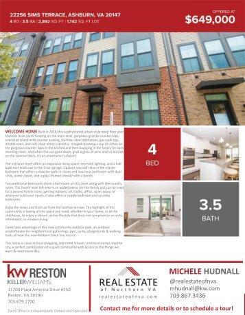 2020-0906 - OH - Ashburn Virginia - Townhouse - 22256 Sims Terrace - Brochure - Northern Virginia Real Estate - Michele Hudnall