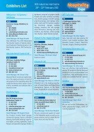 Exhibitors List - Hospitality 2012