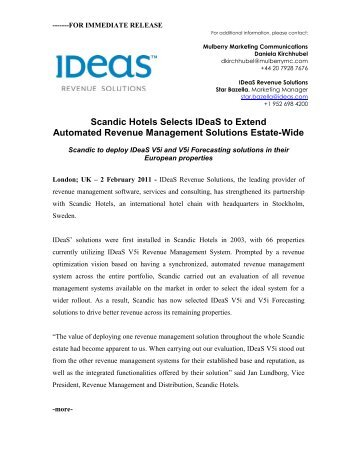 Scandic Hotels Selects IDeaS to Extend Automated Revenue ...