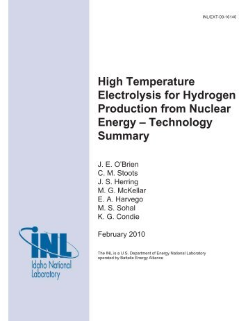High Temperature Electrolysis for Hydrogen Production from ...
