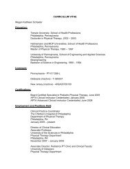 CURRICULUM VITAE Megan Kathleen Schaefer Education: Temple ...