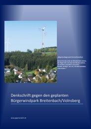 Denkschrift gegen den geplanten Bürgerwindpark Breitenbach ...