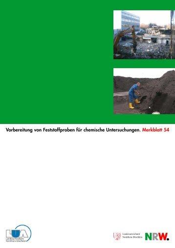 Vorbereitung von Feststoffproben für chemische ... - LANUV NRW