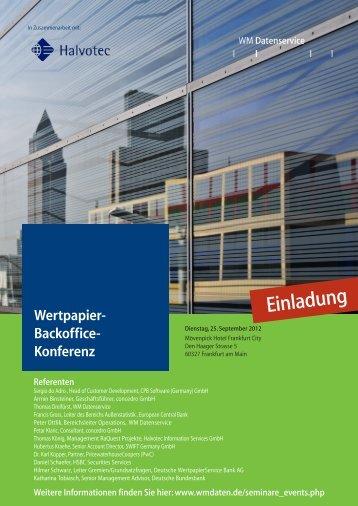 Wertpapier-Backoffice-Konferenz - Concedro