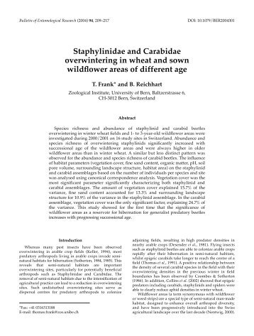 Staphylinidae and Carabidae overwintering in wheat and sown ...