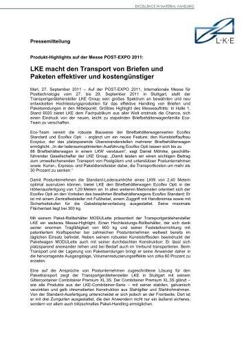 LKE macht den Transport von Briefen und Paketen ... - LKE Group
