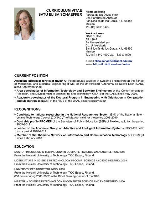 Curriculum Vitae Satu Elisa Schaeffer