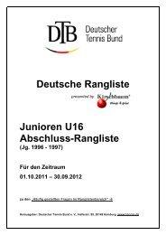 Junioren U16 Abschluss-Rangliste - Deutscher Tennis Bund