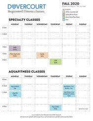Dovercourt FALL 2020 registered fitness schedule