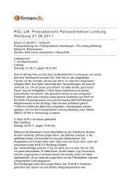POL-LM: Pressebericht Polizeidirektion Limburg ... - Firmendb