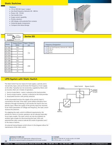 Series SS Static Switches UPS System with Static ... - Schaefer, Inc.