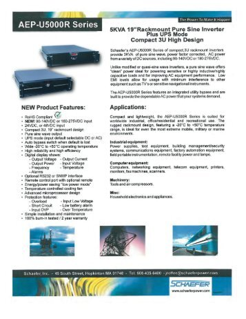 AEP-U5000R Series - Schaefer, Inc.