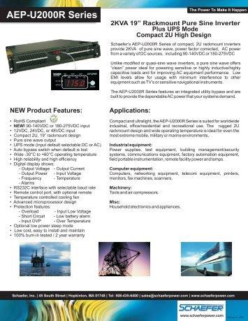 AEP-U2000R Series - Schaefer, Inc.