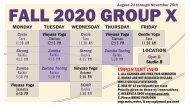 ACU Rec Fall 2020 Group X Schedule