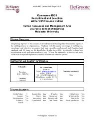 Commerce 4BB3 Recruitment and Selection Winter 2012 Course ...