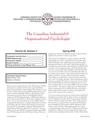 The Canadian Industrial & Organizational Psychologist - Psychology ...