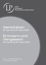 Identitäten Erinnern und Vergessen - Lindauer Psychotherapiewochen