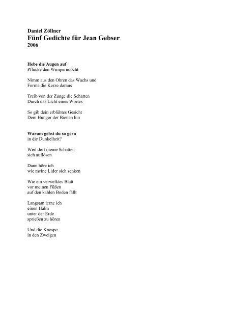 Fünf Gedichte Für Jean Gebser Jean Gebser Gesellschaft