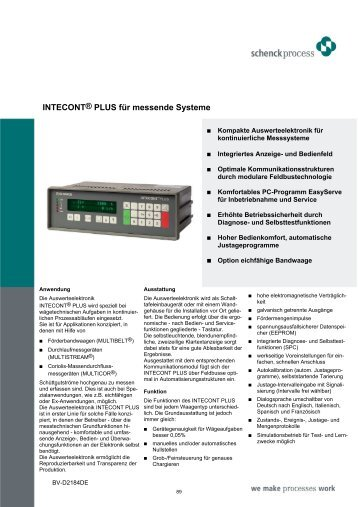 INTECONT® PLUS für messende Systeme - Schenck Process GmbH