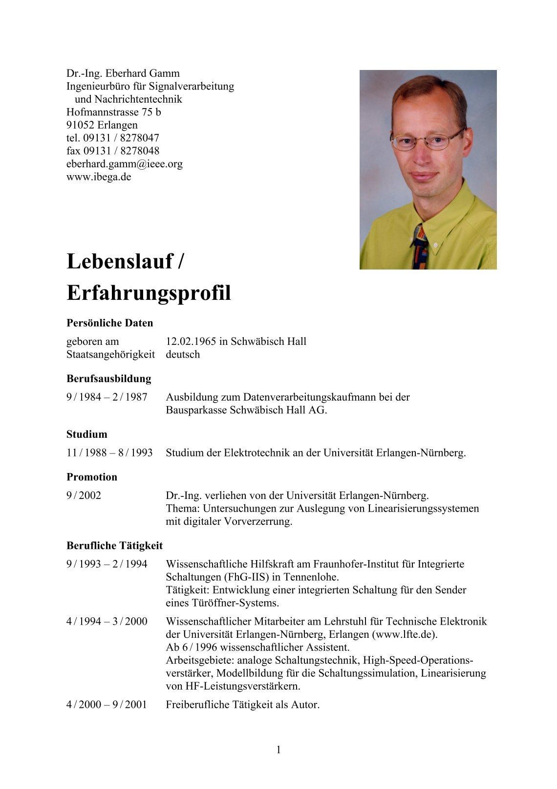 Beste Elektrotechnik Lebenslauf Für Erfahrene Zeitgenössisch ...