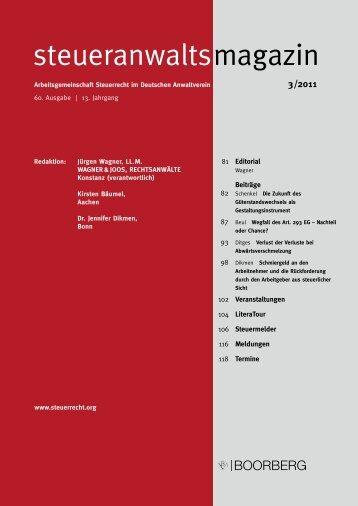steueranwaltsmagazin 3 /2011 - Wagner-Joos Rechtsanwälte