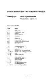 Modulhandbuch des Fachbereichs Physik Studiengänge