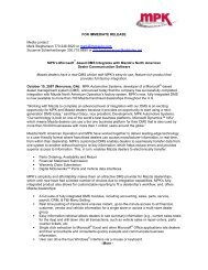 FOR IMMEDIATE RELEASE Media contact - MPK Automotive Systems