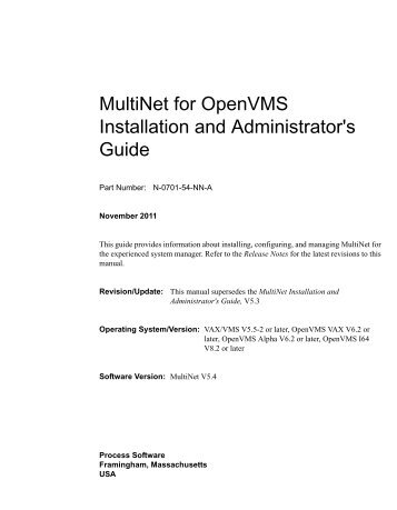 MultiNet Installation and Administrator's Guide - Process Software