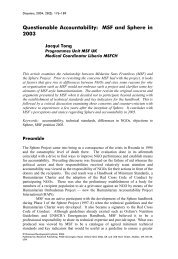 Questionable Accountability: MSF and Sphere in 2003 - MSF Field ...
