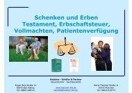 Schenken und Erben Testament, Erbschaftsteuer, Vollmachten ...