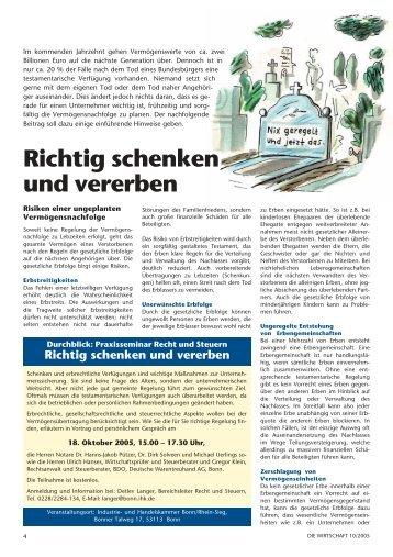 Richtig schenken und vererben - IHK Bonn/Rhein-Sieg