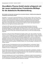 GlucoMetrix Pharma GmbH startet erfolgreich mit der neuen ...