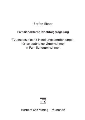 Familienexterne Nachfolgeregelung - Herbert Utz Verlag GmbH