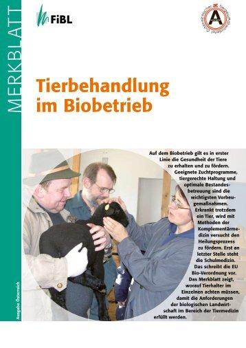 Neues Merkblatt - Tierbehandlung im Biobetrieb