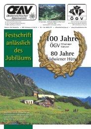100 Jahre Ortsgruppe Südwien - Schneealm - Touren - Info