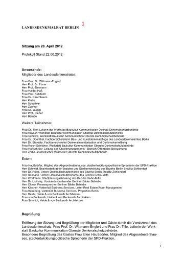 LANDESDENKMALRAT BERLIN - Protokoll zur Sitzung am 20.04 ...