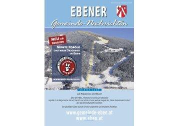 Gemeindezeitung Winter 2008 / 2009 - Gemeinde Eben